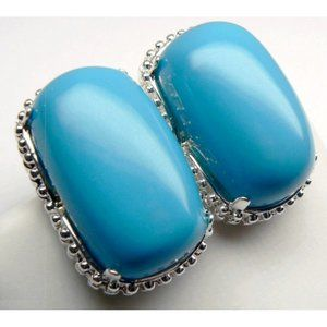 BIG Sterling SILVER Turquoise Earrings RRP $145